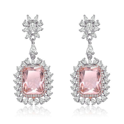 Sterling Silver with Rhodium Plated Morganite Cushion Cut Earrings TE-EAR5763-M