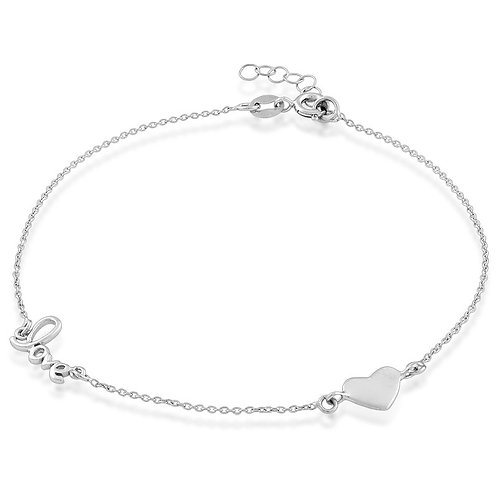 Sterling Silver Heart and LOVE Anklet CL-R-9116