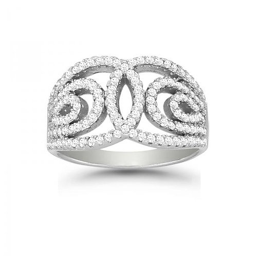Micro Pave Ring Swirl Ring W-9882