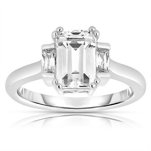 Sterling Silver Platinum Plated Ascher-cut Ring TR-R8001