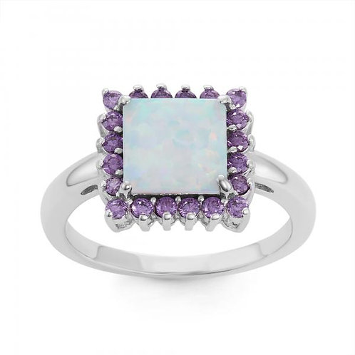 STERLING SILVER WHITE INLAY OPAL SQUARE RING W-1513