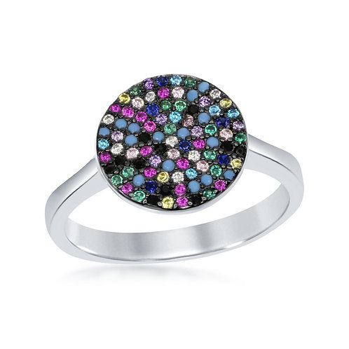 Sterling Silver Round Multi-Color Ring CSR-W-1911