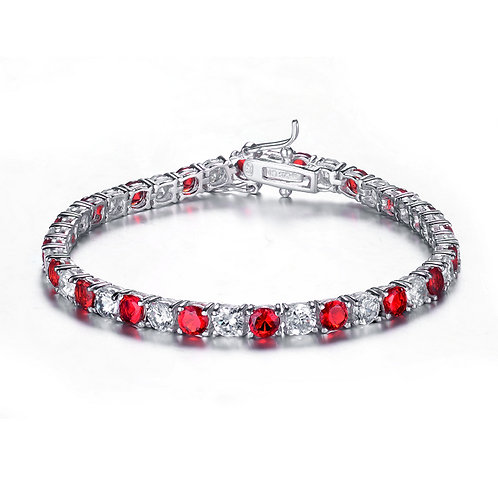2.5mm Sterling Silver / Rhodium Plated Ruby Style Tennis Bracelet TCB-BR780-3-R