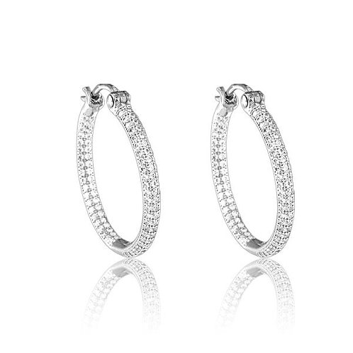 MICRO PAVE HOOP EARRINGS D-4638