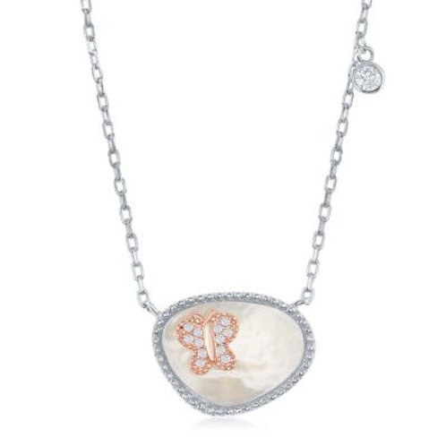 Sterling Silver MOP and RG Butterfly Necklace CSN-M-5793