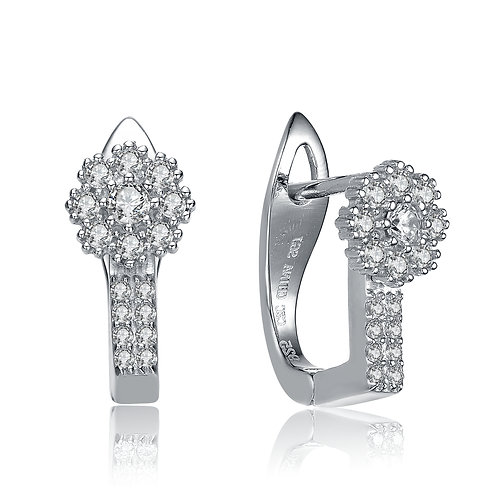 Serling Silver / Rhodium Plated Flower Style Lever Back Earrings TCE- EAR4495