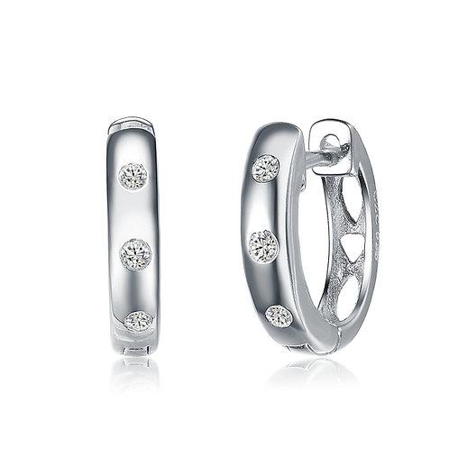 High Polished Sterling Silver Huggie Style Earrings TCE-EAR6457
