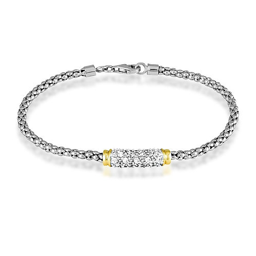 "Sterling Silver 7.5"" Two-Tone Center Bar  Pave` Bracelet CL-T-5881"