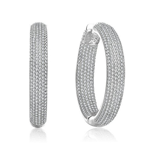 Rhodium Plated Clear Round Pave Hoop Earrings TCSE-BEAR6507