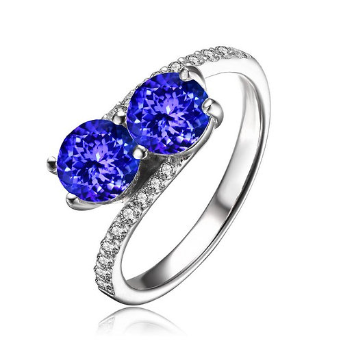 Sterling Silver with Rhodium Plated Two Tanzanite Style Ring CSR-R6084-7-TAN