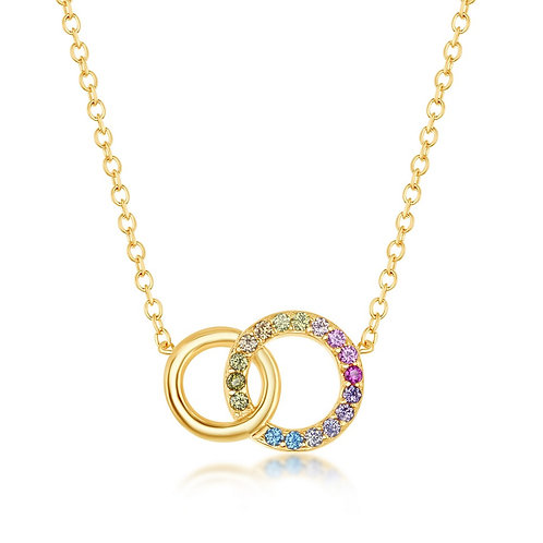 Sterling Silver Gold Plated Rainbow Double Linked Circle Necklace CSN-M-6183-GP