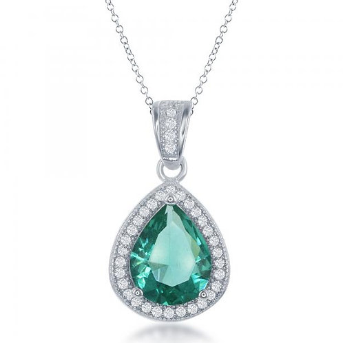 Sterling Silver Teardrop Simulated Emerald colored Pendant TCN-K-7572