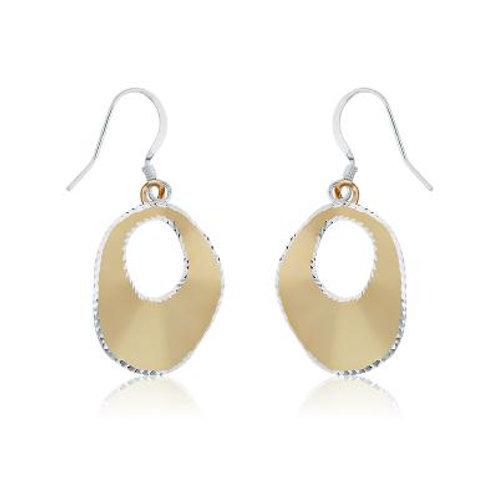 Sterling Silver GP Circle w/Diamond Cut Edge Earrings CSE-A-2072
