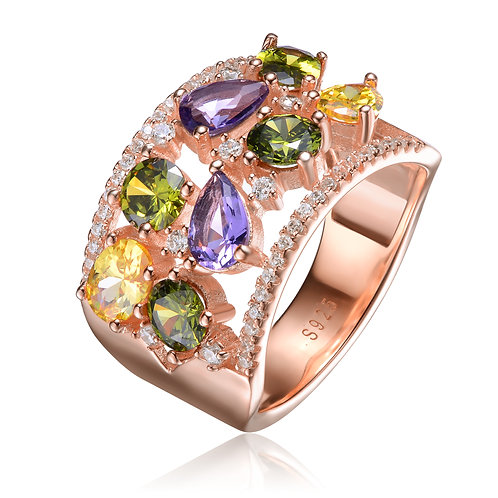 Rose Gold Plated 2-Row Multicolored Accent Ring CSR-R9898-MC-ROSE