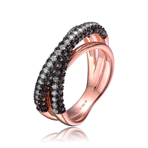 Rose Gold Overlay Black Simulated stone CrissCross Pave Ring CSR-R4010