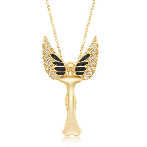 Sterling Silver Angel Pendant W/ Movable Wings - Gold Plated CSN-K-8314-GP