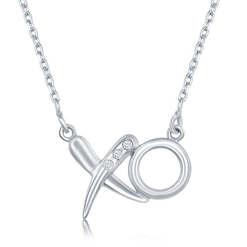 Sterling Silver .03ctw Diamond 'XO' Necklace TCSN-DIM-6240