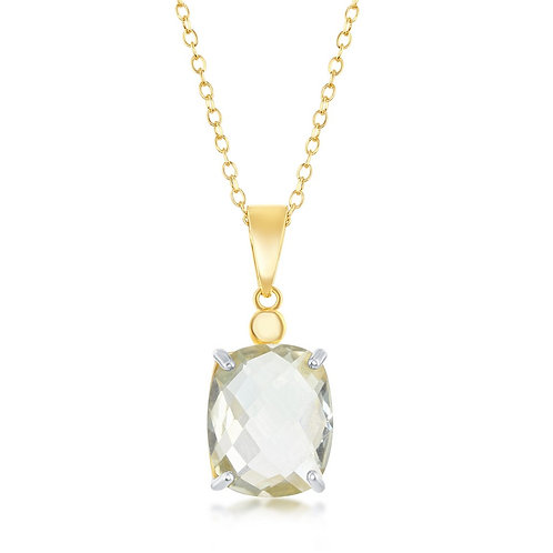 Sterling Silver Gold Plated Checkered Stone Green Amethyst CN-M-6076