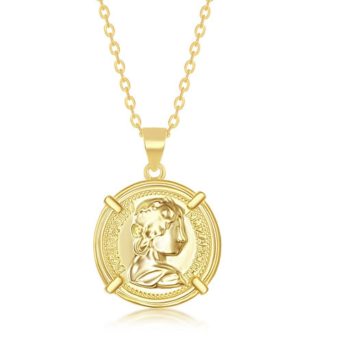 Sterling Silver Gold Plated Queen Elizabeth Coin-Style Necklace TCN-L-4176-GP