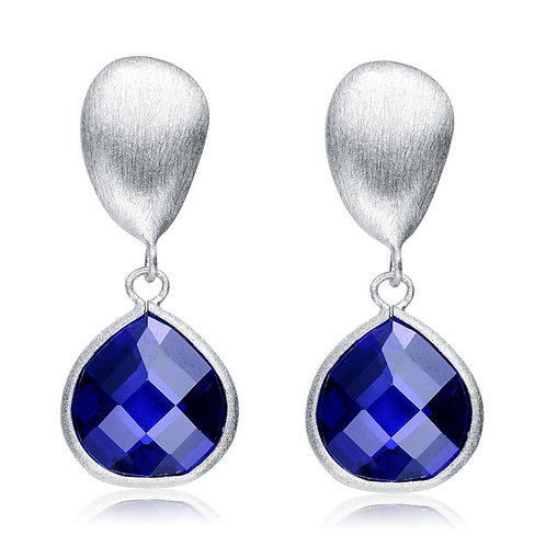Sterling Silver Rhodium Plated Tanzanite Round Gem Stone Drop Stone GE1401-TN