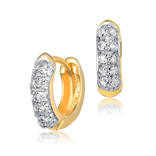 Small Sterling Silver Gold Plated Pave`Set Huggie Earrings CE-EAR161-GP