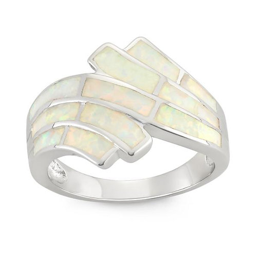 WHITE INLAY OPAL RING W-9959