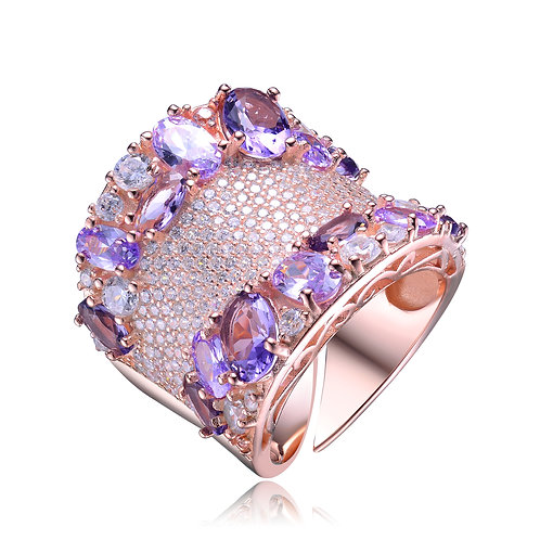 Micro Pave Large Rose Toned Amethyst Ring TR-R1348-A