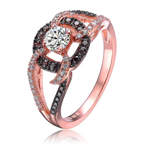 Stunning Rose toned Brown/White stone ring CSR-R4007