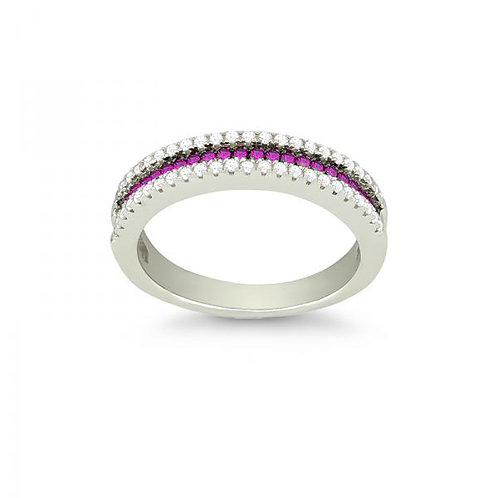 THIN PINK CZ MICRO PAVE RING  W-9885