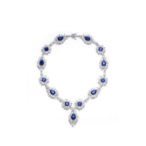 C.Z. Sterling Silver Rhodium Plated Heavy Pear Shape Sapphire Necklace NEC369-SA