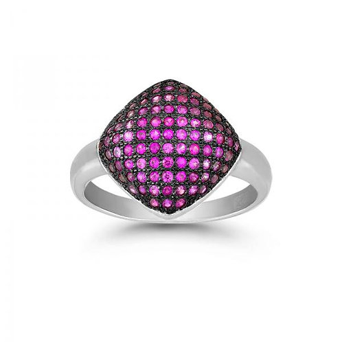 BLACK RHODIUM PINK CZ MICRO PAVE OVAL RING W-9877
