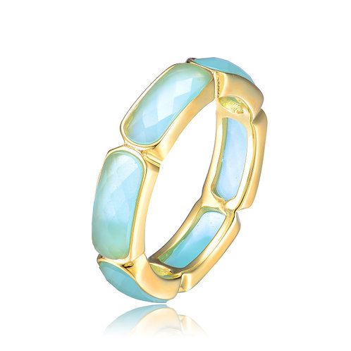 Sterling Silver Gold Toned Light Blue Deco Ring CSR-r9250-ac