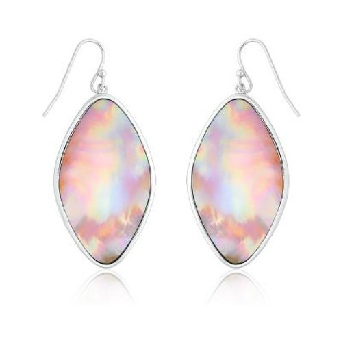Sterling Silver Marquise Shaped Pink MOP Earrings CSE-D-4829