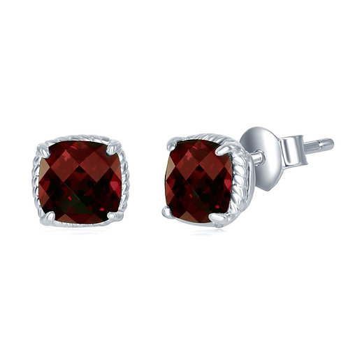 Sterling Silver 6MM Square Cushion-Cut Garnet Earrings CL-D-7164