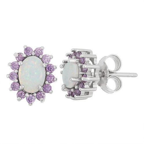 Sterling Silver White Inlay Opal with Amethyst Oval Stud Earrings CL-D-5915