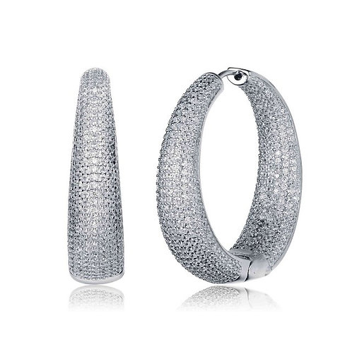 Stunning Full Pave Style Hoop Earrings EAR7283