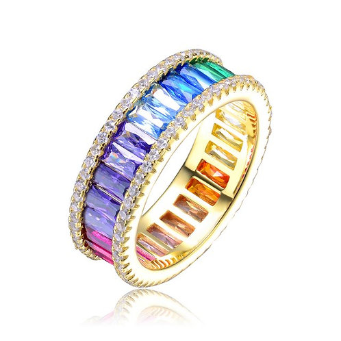 Sterling Silver Rainbow Color Eternity Ring CSR-R8645