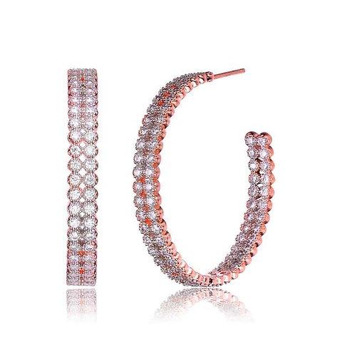 Double Row Milgrain Etching Bezel Hoop Earrings TCSE-EAR5784-ROSE