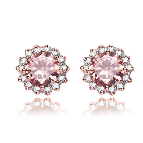 Sterling Silver Morganite  Halo Style Stud Earrings TCE-EAR4211-M-ROSE