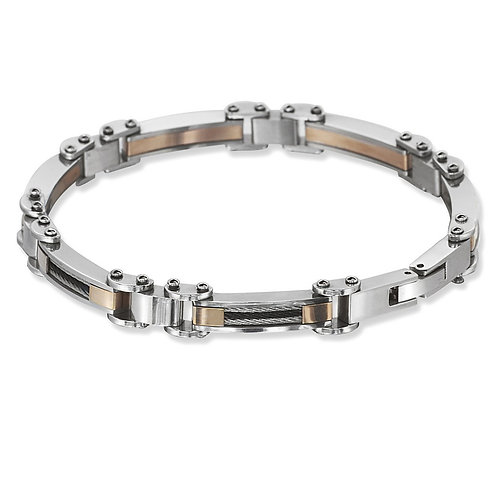 Stainless Steel Rose Plate with Black and Silver Cable Bracelet CL-ST-1560
