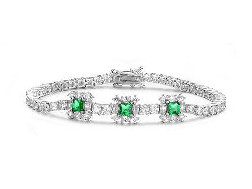 Sterling Silver /Emerald Colored Stone Tennis Bracelet TB-BR6225-E