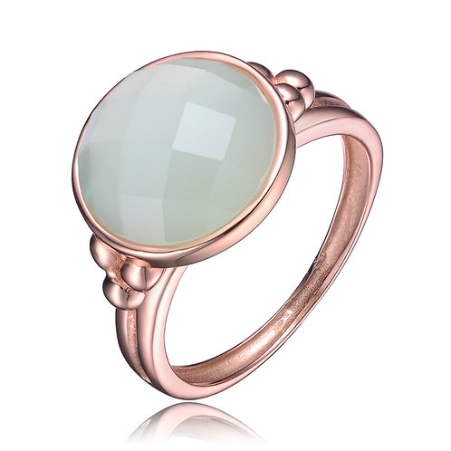 Rose Gold Overlay Mint Green Cubic Zirconia Ring R9955-AC