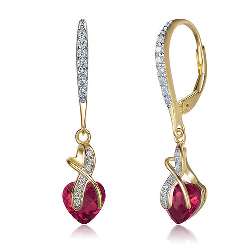 Ruby Style Heart Shaped Gold Plated Earrings CSE-EAR5018-R-GP