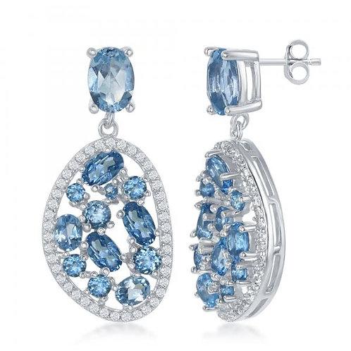Sterling Silver Multi Shaped Blue/White Topaz Earrings TCSE-D-6142