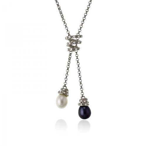 PEARL NECKLACE Blue/White Pear M-3681
