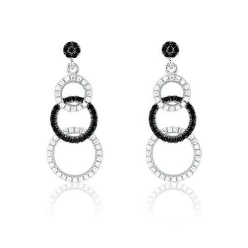Sterling Silver Black and White Micro Pave Graduating Circles Ear. CSE-D-4366