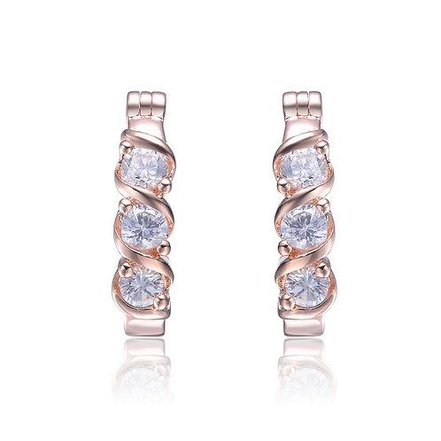 Rose-plated Sterling Silver Hoop Earrings CSE-EAR8415-ROSE