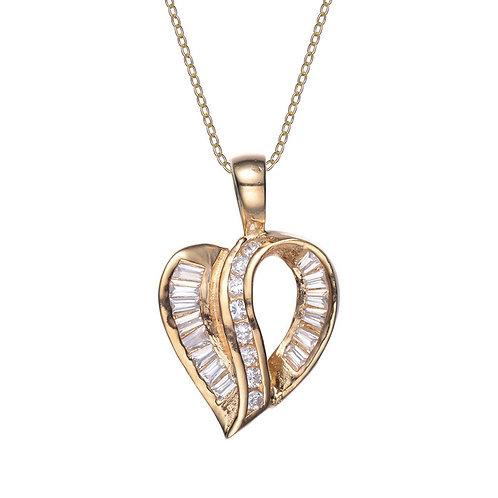 Classic Baguette/Round Stone Heart Pendant TCSN-PEN133-GP