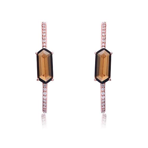 Rose Overlay Smokey Topaz  Hexagon Earrings CSE-EAR8715-ST