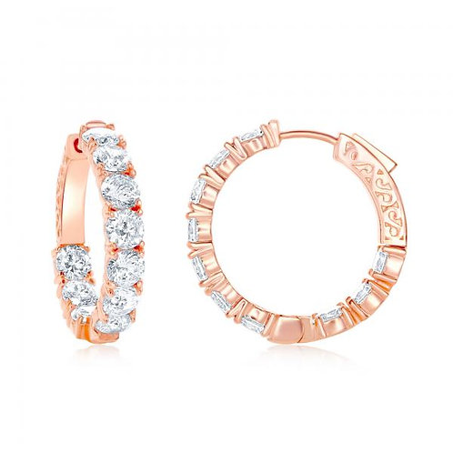 SS Rose Toned Inside-Out 29mm x 5mm Hoop Earrings TCE-D-6900-RG
